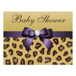 Leopard Print, Purple Bow Baby Shower