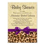 "Leopard Print Purple Girl Baby Shower Invitation 4.5"" X 6.25"" Invitation Card"