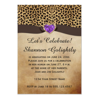 Leopard Print Purple Heart Bling Graduation Party Card