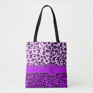 Leopard print purple monogrammed animal print bag