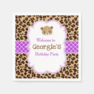 Leopard Print Purple Qua trefoil Birthday Party Napkin
