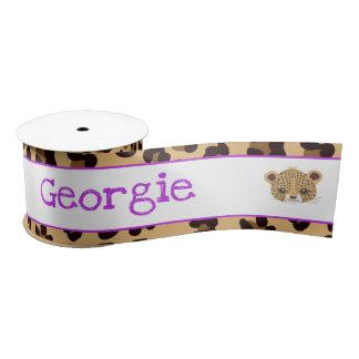 Leopard Print Purple Quatre foil Gift Satin Ribbon