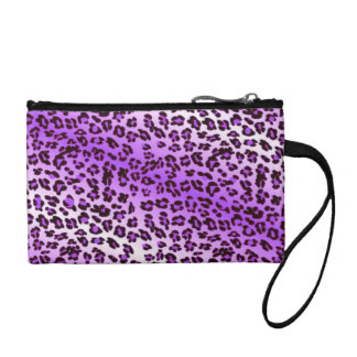 Leopard Print Purple & White Coin Wallets