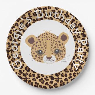 Leopard Print Qua trefoil Birthday Party Paper Plate