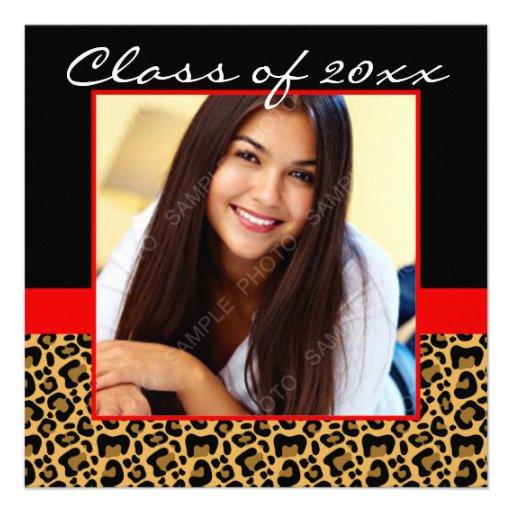Leopard Print Red Black Photo Graduation Personalized Announcements