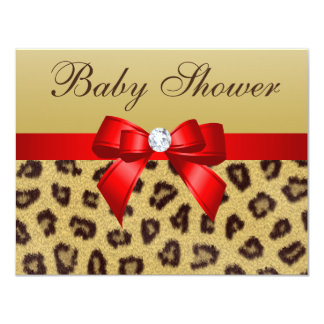 """Leopard Print, Red Bow Baby Shower 4.25"""" X 5.5"""" Invitation Card"""