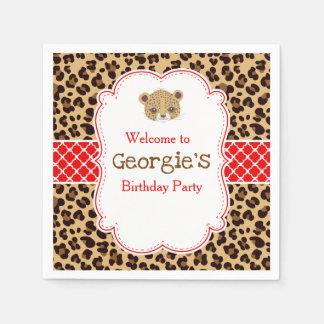 Leopard Print Red Qua trefoil Birthday Party Napkin