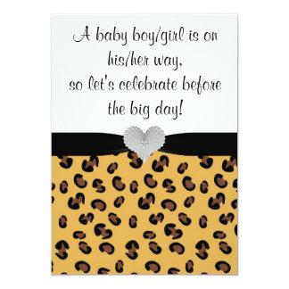 Leopard Print Rhinestone Baby Shower Invitation