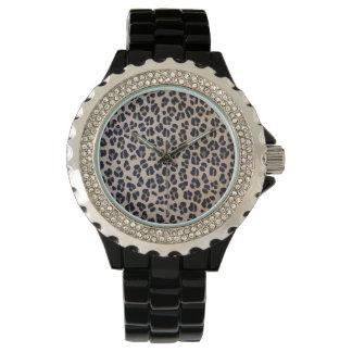 Leopard Print Rhinestone Black Enamel Watch