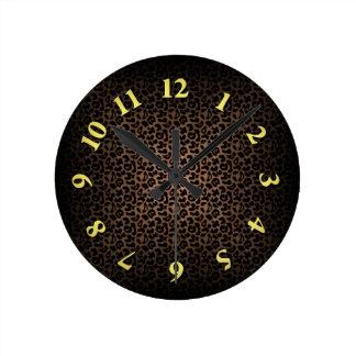 Leopard Print Round Clock