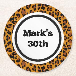 Leopard Print Round Paper Coaster
