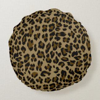 Leopard Print Round Throw Pillow