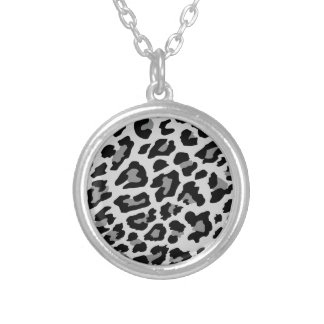 leopard print silver plated necklace