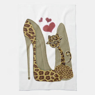 Leopard print Stiletto Shoes and Cute Cat Hearts Kitchen Towel
