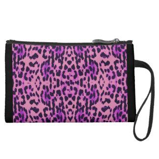 Leopard Print Suede Wristlet