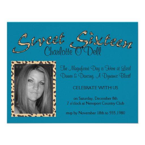 leopard print; sweet sixteen custom invites