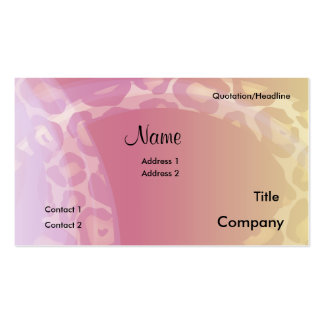 Leopard Print Swish Business Card, Name, Addres... Business Card