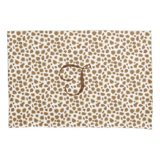 Leopard Print - Taupe Tan and White Pillowcase