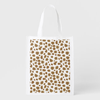 Leopard Print - Taupe Tan and White Reusable Grocery Bag