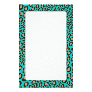 Leopard Print/teal/Add background color!! Personalized Stationery