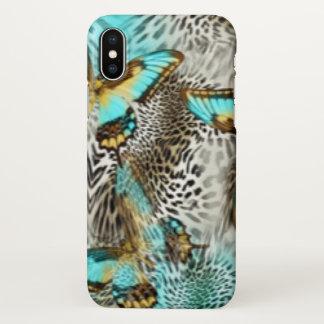 Leopard Print & Teal Butterflies iPhone X Case