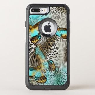 Leopard Print & Teal Butterflies OtterBox Commuter iPhone 8 Plus/7 Plus Case