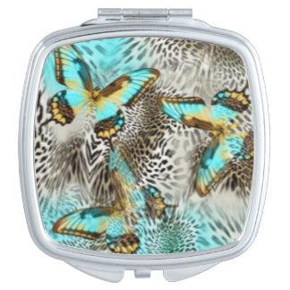 Leopard Print & Teal Butterflies Vanity Mirrors
