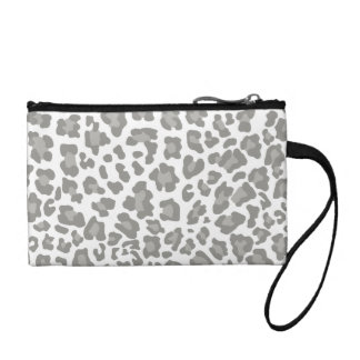 Leopard Print White and Gray Change Purse