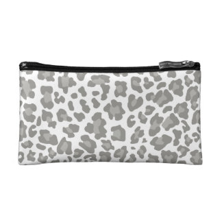 Leopard Print White and Gray Cosmetics Bags