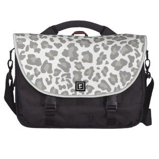 Leopard Print White and Gray Laptop Computer Bag