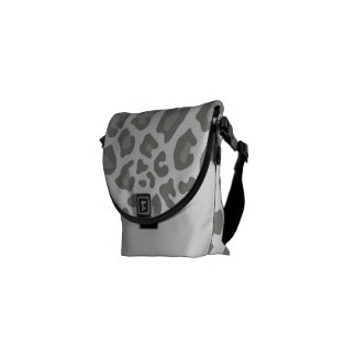 Leopard Print White and Gray Courier Bags