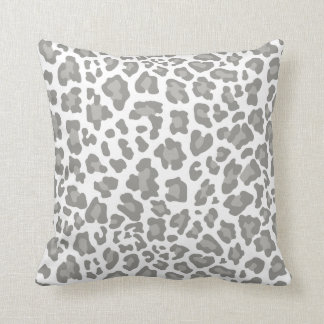 Leopard Print White and Gray Pillows