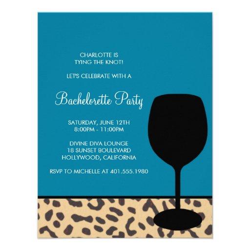 leopard print wine bachelorette invites