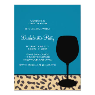 "leopard print wine bachelorette 4.25"" x 5.5"" invitation card"