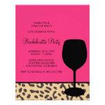leopard print wine bachelorette invitation