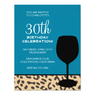 """leopard print wine birthday 4.25"""" x 5.5"""" invitation card"""