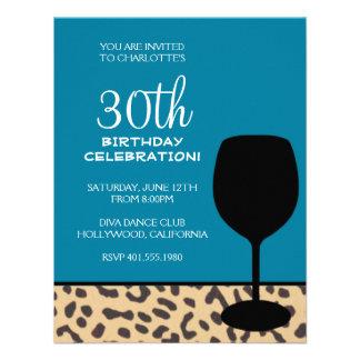 leopard print wine birthday announcements