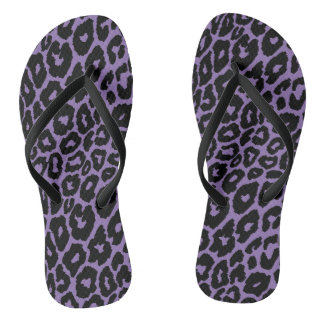 Leopard Print with Purple Background Changer Flip Flops
