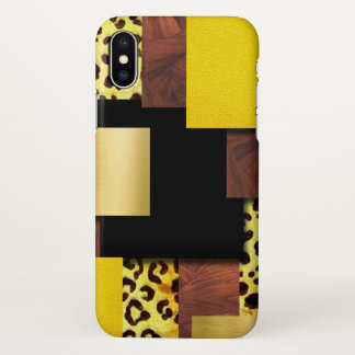 Leopard Print & Wood Collage iPhone X Case