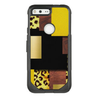 Leopard Print & Wood Collage OtterBox Commuter Google Pixel Case