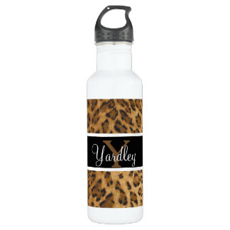 Leopard Print Y monogram initials Water Bottle