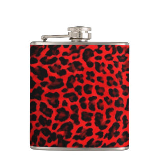Leopard - Red and Black Hip Flask