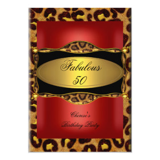 Leopard Red Gold Black Birthday Fabulous 50 Card