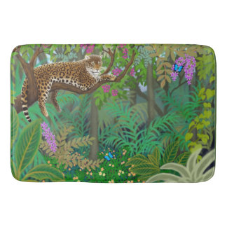 Leopard Resting in The Jungle Bath Mat