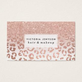 Léopard rose d'ombre de scintillement d'or de faux cartes de visite