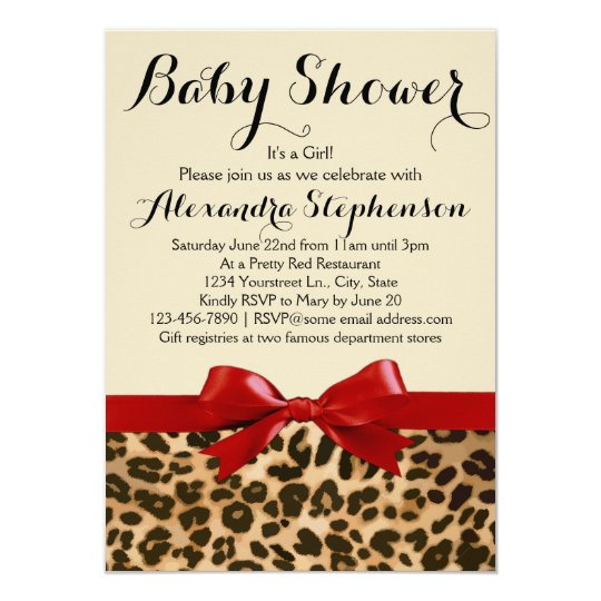 Leopard Safari Red Bow Girl Baby Shower Invitation