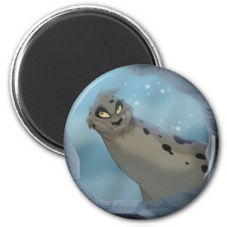 Leopard Seal Hunting 2 Inch Round Magnet