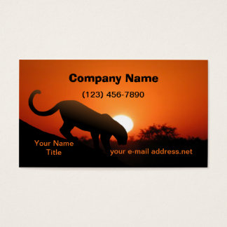 Leopard Silhouette Sunset Business Card