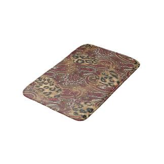 Leopard Skin and Paisley Print Bath Mat