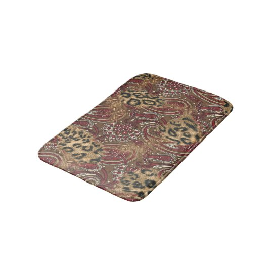 Leopard Skin and Paisley Print Bathroom Mat